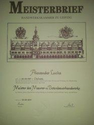 Meisterbrief Alexander Luchs