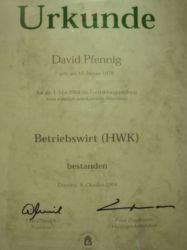 Urkunde Betriebswirt(HWK)