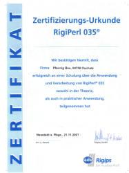 Zertifizierungsurkunde RigiPerl