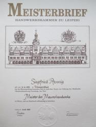 Meisterbrief Sigfried Pfennig